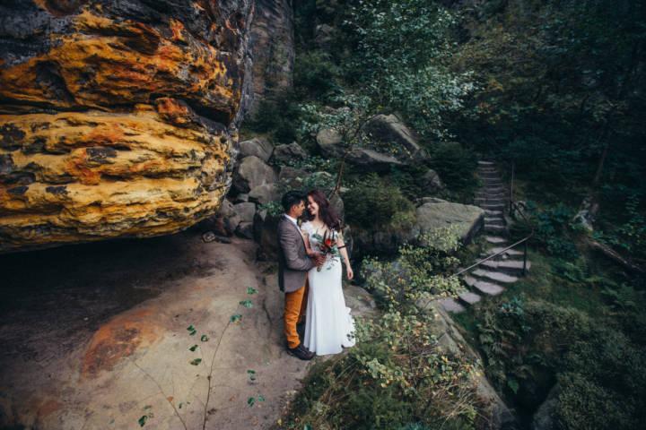 Hochzeits Trendshooting in der sächsischen Schweiz