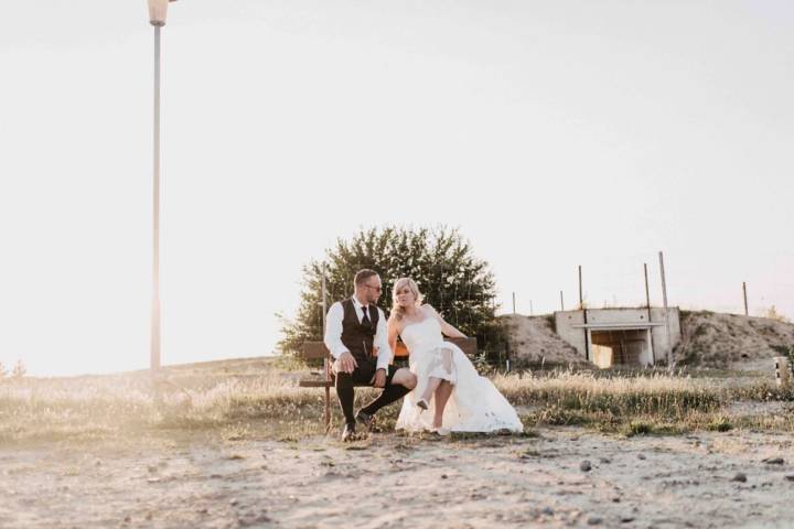 Hochzeitsreportage in der Lausitz mit Paarshooting im Tagebau
